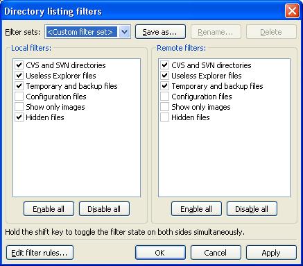 Filezilla filters