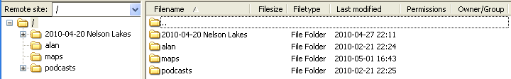 Filezilla remote directory display